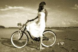 Bride on bike